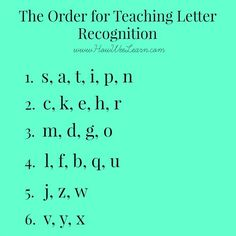 The order for teaching letter recognition to kids - brilliant reasoning. A must…