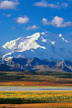 """Mt. McKinley, Denali National Park  Alaska. The """"small"""" mountains in the foreground are really large, but look small next to McKinley."""