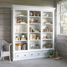 A touch of country living with the Burford Large Bookcase from The Cotswold Company. Free Delivery on all products! Country Style Living Room, Home Living Room, Living Room Furniture, Living Room Decor, Tall White Bookcase, Large Bookcase, Slim Bookcase, Bookcases For Sale, Bookshelves
