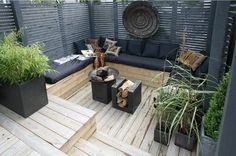 sheltered deck bench - love this maybe just add a hot tub