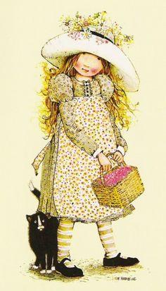Soloillustratori: Holly Hobbie- Sarah Kay e Sambonnet Holly Hobbie, Crazy Cat Lady, Sarah Key, Cat Fabric, Dibujos Cute, Vintage Cards, Vintage Children, Vintage Prints, Childhood Memories