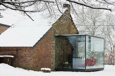 Glass and old brick house. #Architecture #Winter