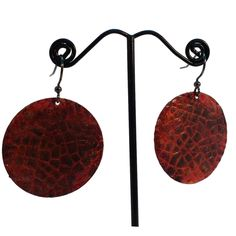 Hand Painted Red Dragon Scales Dangle Earrings
