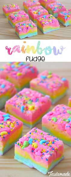 Fudge Who knew the rainbow tasted so chocolatey? This fudge is extra fun and just the dish for your next birthday party!Who knew the rainbow tasted so chocolatey? This fudge is extra fun and just the dish for your next birthday party! Dessert Party, Snacks Für Party, Party Desserts, Kids Party Treats, Party Cakes, Yummy Treats, Delicious Desserts, Sweet Treats, Yummy Food