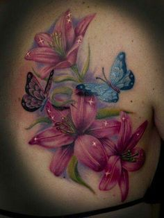 e6c127cfd Girly Tattoos, Rose Tattoos, Lily Flower Tattoos, Lilies Tattoo, Butterfly  Tattoos,