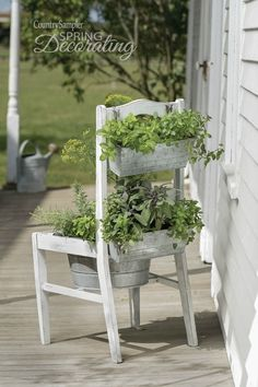 Reinvent an old chair as a stand-up herb planter with the use of a galvanized tu.- Reinvent an old chair as a stand-up herb planter with the use of a galvanized tu… Reinvent an old chair as a stand-up herb planter with… -