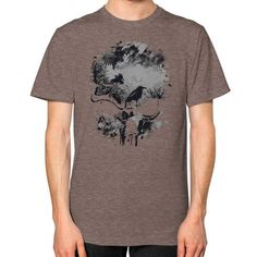 Skull, Trees and Crow Wicked Grunge Design Unisex T-Shirt (on man)