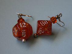 Metallic Orange Dice Earrings: D12 and Percentage - SarahPacetti - Etsy