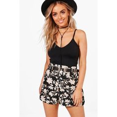 Boohoo Shirley Floral Print Flippy Shorts ($20) ❤ liked on Polyvore featuring shorts, sequined shorts, sequin denim shorts, embellished shorts, denim culottes and mini denim shorts