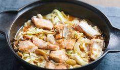 Pan-steamed Salmon & Cabbage with Miso Sauce 3 salmon fillets 1 onion 1/4 cabbage 6 button mushrooms 50 g shimeji mushrooms 1 jalapeño pepper, chopped 20 g butter salt for sprinkling salmon 1 tbsp sesame oil  miso sauce: 2 tbsp miso 1 tsp gochujang (Korean hot pepper paste) 1 tbsp soy sauce 2 tbsp sugar 2 tbsp mirin 2 tbsp sake 1 tbsp grated ginger 1 tsp grated garlic