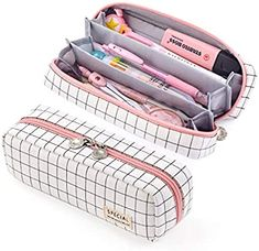 EASTHILL Pencil Case Grid Pencil Pouch with 3 Compartments Stationery Bag Pencil Bag for Girls Teens Students Art School and Office Supplies (Plaid White) Cute Pencil Pouches, Cute Pencil Case, Pencil Bags, Teen Pencil Case, Pencil Case Pouch, Pencil Holder, Stationary School, School Stationery, Cute Stationery