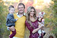 Fall family color scheme, maroon and mustard yellow.