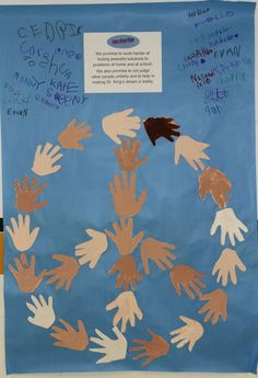Pledge and Peace sign made with painted hands. Such a creative idea for kids to feel a part of the pledge.