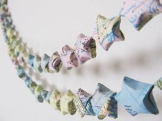Vintage Map Origami Star Garland Party Decor Home by CatchSomeRaes