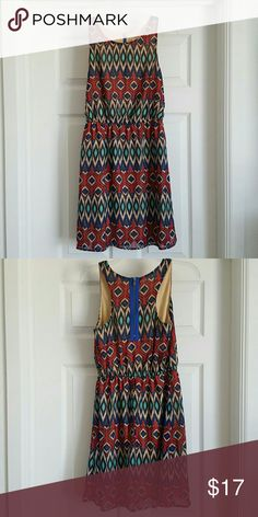 Geometric Print Dress This dress from Target has only been worn once to a summer wedding. It's lined, with a zipper racerback. | Listed 11/6/16 Xhilaration Dresses Midi