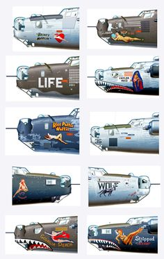 Illustrations showing examples of Nose Art Nose Art, Ww2 Aircraft, Military Aircraft, Aircraft Carrier, Old Planes, Air Fighter, Aircraft Painting, Airplane Art, Aircraft Design