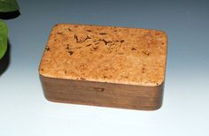 Handmade wood stash box of Big Leaf Maple Burl and walnut. Perfect for your special keepsakes, on your desk or as a jewelry box.  The perfect wood combination if you are not sure what the recipient has for colors. This box with it's light and dark components will compliment any decor.   This bo Handmade Wooden, Handmade Boxes, Tung Oil Finish, Small Wood Box, Stash Jars, Barrel Hinges, Maple Burl, Wood Boxes, Keepsake Boxes