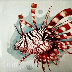 Lion fish,  watercolor print (11x17) for sale $55. you can find my art on Etsy under Cory McNelia also find me on Instagram @cory_h.art