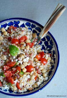 insalata ai 3 cereali ceci pancetta e pinoli
