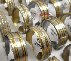 Free shipping, $16.76/Piece:buy wholesale  50pcs Top Golden mix Design Fashion Stainless steel rings wholesale jewelry lotsBand Rings,Men's,Gift on hallo713119's Store from DHgate.com, get worldwide delivery and buyer protection service.