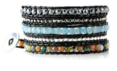 Exotic Marrakech Colorful Faceted Bead Mix on Black Leather 5x Wrap Bracelet. Exotic Marrakech Colorful Mixed Bead Wrap Bracelet. Colorful Faceted Beads, Hematite Beads and Silvertone Faceted Beads on Black Leather. Long 39 Inch Leather Bracelet Wraps 5x Around on 6 to 7.5 Inch Wrists. Arrives in an Organza Bag Inside A Foil Gift Box with Bow. Looks Great When Worn Alone - Or Combine With Other Bracelets and Bangles for the Latest Stack Bracelet Look. Two Of Our Wraps Can Be Buttoned...