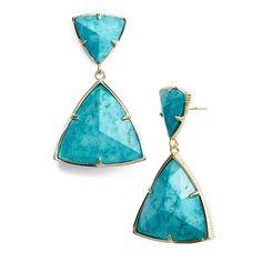 Kendra Scott 'Maury' Drop Earrings featuring polyvore, fashion, jewelry, earrings, post earrings, 14 karat gold earrings, kendra scott, 14k earrings and 14 karat gold jewelry