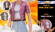 🌺 Spring Days Shirt 🌸 Y'all might be on your fall girl thingz but i'm out here in the brazilian spring near heat stroke. So i decided to create a very cute and breasy shirt with various fun. Sims Four, Sims 4 Mm Cc, My Sims, Vêtement Harris Tweed, Sims 4 Characters, Sims 4 Game Mods, Sims4 Clothes, Sims 4 Dresses, Sims 4 Gameplay
