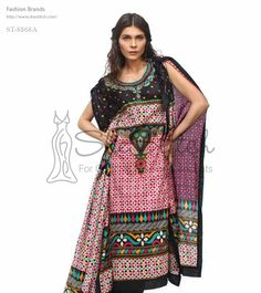 Price: $12 - ST-8868A multicolored shirt collection by Shariq Textile features poncho style with stylish print at front with black color printed neck and body with multi printed border.