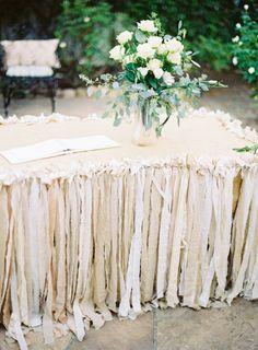 scrap fabric table skirt / via: Grey Likes Weddings