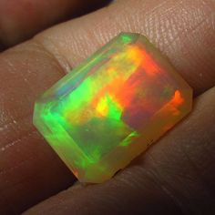 VIDEO 4.46 ct Bright Gem Ethiopian Welo Crystal Opal Emerald Cut 14 x 10 mm Red #JewelsRoughGems