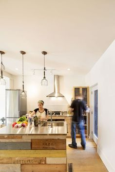 Reclaimed wood pairs with stainless steel