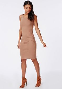 Jersey Ruched Sides Sleeveless Bodycon Dress Camel - Dresses - Bodycon Dresses - Missguided