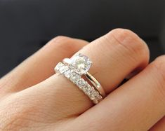 Solitaire With Accent. His And Her Wedding Ring Set. Engagement Bands, Solitaire Engagement, Vintage Engagement Rings, Man Made Diamonds, Round Diamonds, Powerful Love Spells, Diamond Simulant, Ring Set, Bridal Rings