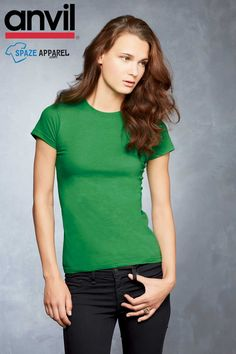 Buy Anvil 379 Ladies Ringspun Junior Fitted T-Shirt - $3.58 at spazeapparel.com    Size: S, M, L, XL, 2XL    #ladiestshirts #ladiesvnecktshirts #tshirts #juniorfittedtShirt