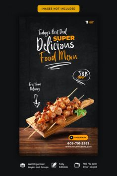 Food menu and restaurant instagram story... | Premium Psd #Freepik #psd #banner Food Graphic Design, Food Menu Design, Food Poster Design, Restaurant Menu Design, Food Promotion, Food Banner, Food Advertising, Food Packaging, Instagram Story