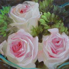 "Daily Paintworks - ""Sweet as a Rose"" - Original Fine Art for Sale - © Elaine Juska Joseph"