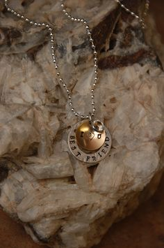 Hand Stamped Metal Pendant Necklace