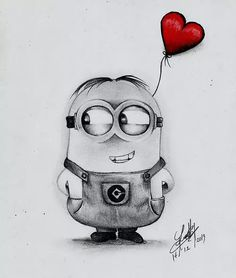 Minion Bob Drawing in pencil - Painting Disney Drawings Sketches, Cute Cartoon Drawings, Art Drawings Sketches Simple, Pencil Art Drawings, Easy Drawings, Drawing Ideas, Cartoon Ideas, Time Cartoon, Awesome Drawings