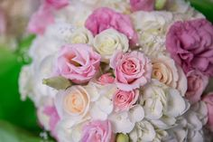 Hydrangeas, spray roses, garden roses, lisianthus, pearls, carnations bouquet for vintage summer wedding by Blooms n Bowties with Jessica Little Photography