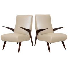 A Rare Pair Italian Modern Mahogany Armchairs,circle of Borsani | From a unique collection of antique and modern armchairs at https://www.1stdibs.com/furniture/seating/armchairs/