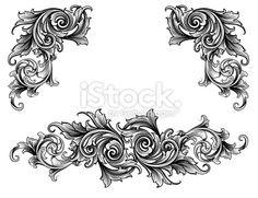 Broadleaf Scroll Set Royalty Free Stock Vector Art Illustration