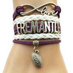 Infinity Love Fremantle Dockers Football Bracelet BOGO Australian Football League, Football Bracelet, Bangle Bracelets, Bangles, Infinity Love, Drop, Club, League City, Football Stuff