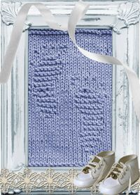 Knitted Washcloth Baby Footprints
