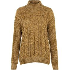 Mustard Cable Knit Roll Neck Jumper ($54) ❤ liked on Polyvore featuring tops, sweaters, corn yellow, mustard sweater, mustard yellow sweater, long sleeve jumper, cable knit sweater and yellow cable knit sweater