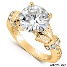 Annello by Kobelli 14k Gold Round-cut Moissanite and 1/8ct TDW Diamond Engagement Ring