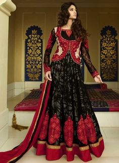 Catchy Red And Black Printed Faux Georgette With Net  Anarkali Suit http://www.angelnx.com/Salwar-Kameez