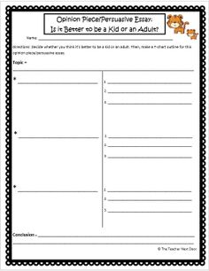 This T-Chart Outline by The Teacher Next Door will help your students organize opinion piece/persuasive essays. The Opinion Piece Unit is loaded with 32 task cards, worksheets, a group project, homework, a game and more!
