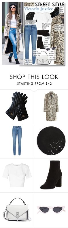 """""""Victoria Justice Street Style"""" by anne-mclayne-andreea-miclaus ❤ liked on Polyvore featuring Gucci, Roberto Cavalli, Paige Denim, Parkhurst, T By Alexander Wang, Yves Saint Laurent, Rebecca Minkoff, Le Specs, GetTheLook and StreetStyle"""