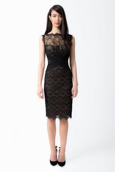 Chantilly Lace Boatneck Sheath Dress in Black / Nude - Cocktail Dresses - Evening Shop | Tadashi Shoji