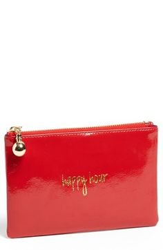 $22, Red Leather Clutch: Halogen Patent Leather Clutch. Sold by Nordstrom. Click for more info: https://lookastic.com/women/shop_items/43095/redirect